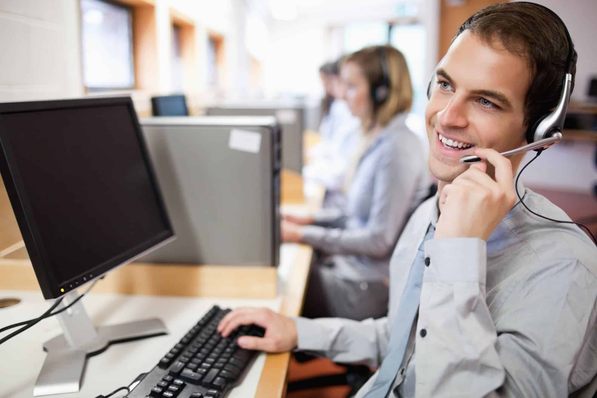 Smiling assistant using a headset