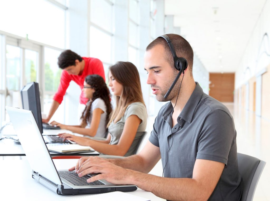 Customer service employee with headset